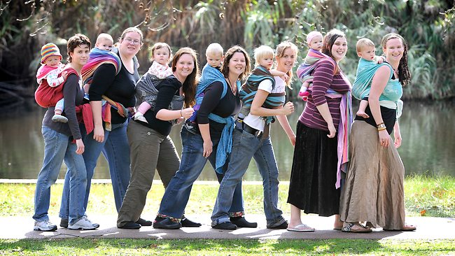 Baby Sling back carry:  Mums in a line